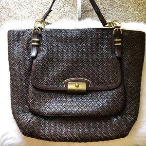 Coach Dark Brown Kirsten Woven Leather Bag
